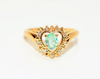 Paraiba Tourmaline & Diamond .38tcw 14kt Yellow Gold Halo Heart Women's Ring