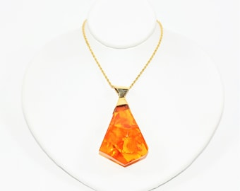 Natural Amber 14kt Yellow Gold Pendant Women's Necklace