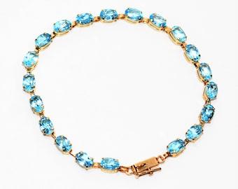 Swiss Blue Topaz 8tcw 10kt Yellow Gold Gemstone Tennis Women's Bracelet