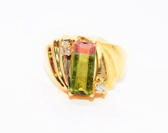 Watermelon Tourmaline & Diamond 1.53tcw 14kt Yellow Gold Cocktail Women's Ring