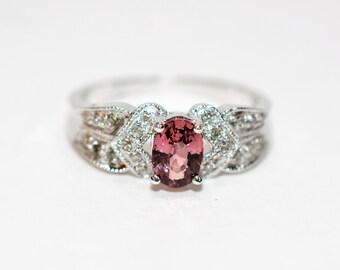 Padparadscha Sapphire & Diamond .98tcw 14kt White Gold Pave Women's Ring