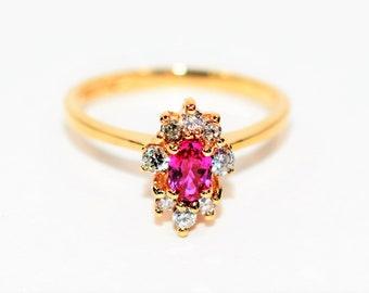 Ruby & Diamond .65tcw 14kt Yellow Gold Marquise Gemstone Statement Women's Ring