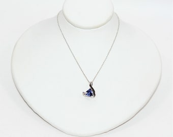 Tanzanite & Diamond .91tcw 14kt White Gold Trillion Pendant Women's Necklace