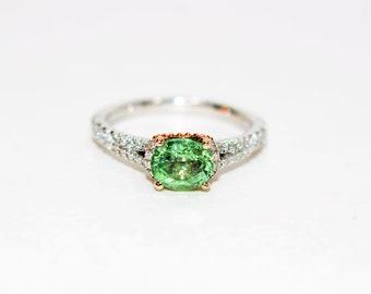 Enchanted Collection Mulan Paraiba Tourmaline & Diamond 1.42tcw 14kt White Rose Gold Engagement Ring