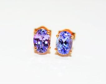 Tanzanite 2tcw 14kt Yellow Gold Solitaire Gemstone Stud Women's Earrings