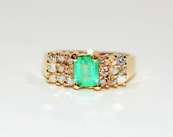 Colombian Emerald & Diamond 1.64tcw 14kt Yellow Gold Women's Ring