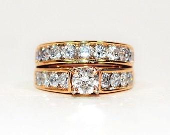 GIA Certified Diamond 2.68tcw 14kt Yellow Gold Women's Ring Band Wedding Set