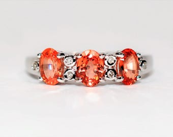 40% OFF SALE with free limited resizing!! Shimmering Beauty 1.56tcw Padparadscha Sapphire & Diamond 14kt White Gold Ring