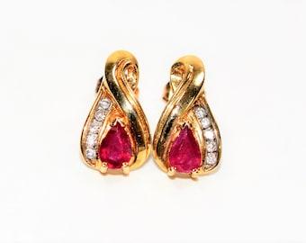 Burmese Ruby & Diamond 1.10tcw 10kt Yellow Gold Stud Women's Earrings