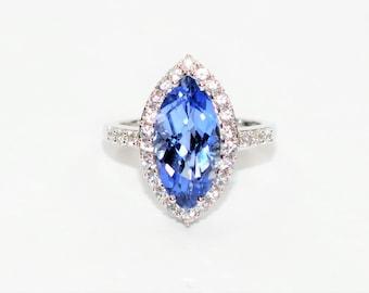 Tanzanite & Diamond 5.59tcw 10kt White Gold Marquise Statement Women's Ring