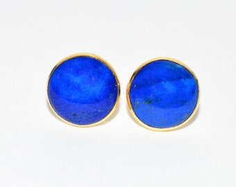 Lapis Lazuli 14kt Yellow Gold Solitaire Gemstone Stud Women's Earrings