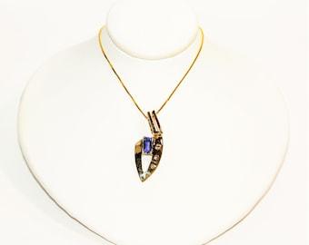 D'Block Tanzanite & Diamond .80tcw 14kt Yellow Gold Statement  Pendant Women's Necklace