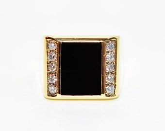 Onyx & Diamond .60tcw 14kt Yellow Gold Gemstone Statement Men's Ring