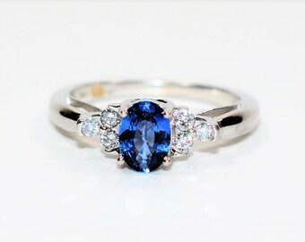 Ceylon Sapphire & Diamond 1.18tcw 14kt White Gold Women's Ring