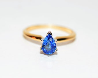 Ceylon Sapphire 1ct 14kt Yellow & White Gold Solitaire Engagement Ring