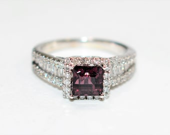 Purple Spinel & Diamond 1.86tcw 14kt White Gold Engagement Women's Ring