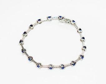 Ceylon Sapphire & Diamond 2.11tcw 18kt White Gold Tennis Women's Bracelet