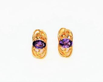 Amethyst 1tcw 18kt Yellow Gold Solitaire Stud Women's Earrings