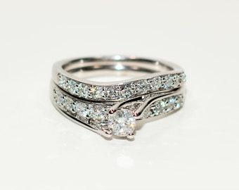 Diamond 1.42tcw 14kt White Gold Pave Engagement Ring Wedding Band Women's Bridal Set