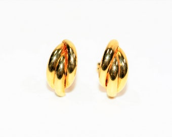 14kt Yellow Gold Statement Stud Drop Earrings