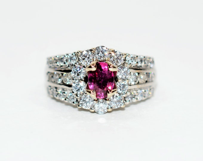 Featured listing image: GIA Certified Ruby & Diamond 2.44tcw 14kt White Gold Women's Ring