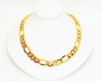 14kt Yellow Gold 8.50mm Figaro Chain Statement Fine Men's Necklace