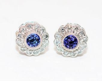 D'Block Tanzanite & Diamond 1.24tcw 14kt White Gold Halo Stud Women's Earrings