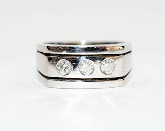 Diamond .75tcw 14kt White Gold Statement Cluster Men's Ring