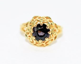 Purple Spinel 1.74ct 10kt Yellow Gold Vintage Solitaire Gemstone Women's Ring
