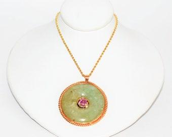 Jade & .68ct Pink Ceylon Sapphire 14kt Yellow Gold Pendant Women's Necklace