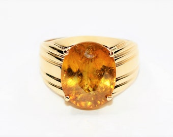 Sphene 10.51ct 10kt Yellow Gold Pave Solitaire Statement Men's Ring