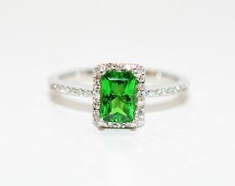 Tsavorite Garnet & Diamond 1.28tcw 14kt White Gold Engagement Women's Ring