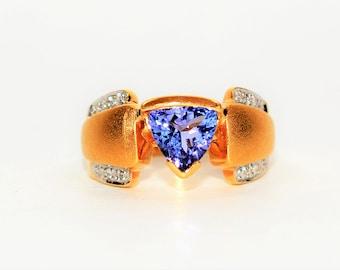 D'Block Tanzanite & Diamond 1.41tcw 18kt Yellow Gold Women's Ring
