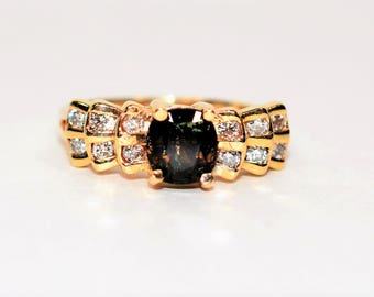 Color Changing Sapphire & Diamond 1.12tcw 14kt Yellow Gold Pave Cluster Women's Ring