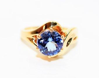 Tanzanite 3.05ct 14kt Yellow Gold Solitaire Vintage Fine Gemstone Women's Ring
