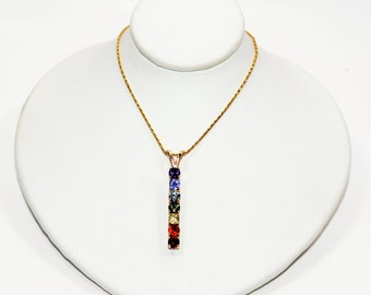 Rainbow Fancy Sapphire 2.31tcw 14kt Yellow Gold Gemstone Pendant Women's Necklace
