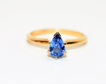 Ceylon Sapphire 1ct 14kt Yellow & White Gold Solitaire Engagement Estate Ring