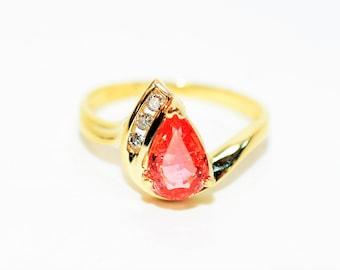 Certified Padparadscha Sapphire & Diamond 1.35tcw 10kt Yellow Gold Women's Ring