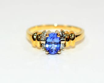 D'Block Tanzanite & Diamond 1.12tcw 14kt Yellow Gold Women's Ring
