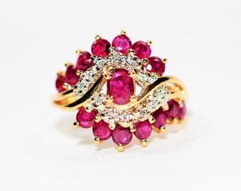 Burmese Ruby & Diamond 2.55tcw 14kt Yellow Gold Cluster Women's Ring