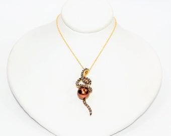 LeVian Tahitian Pearl & Chocolate Diamond .75tcw 14kt Yellow Gold Necklace