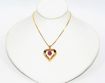 Padparadscha Sapphire .57ct 10kt Yellow Gold Heart Pendant Women's Necklace