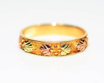 Black Hills Gold 10kt Yellow Gold Leaf Vine Nature Statement Band Ring