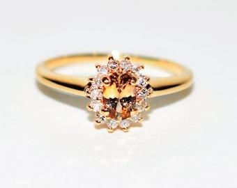Unheated Tanzanite & Diamond .68tcw 14kt Yellow Gold Women's Ring