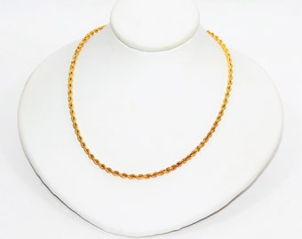 Diamond SILK ROPE 14kt Yellow Gold 2.25mm Vintage Twist Rope Chain Necklace
