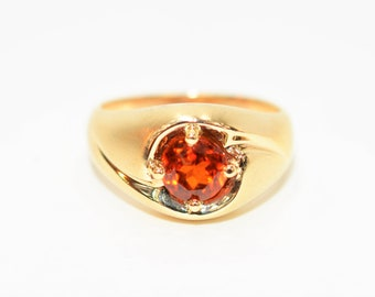 Spessartine Mandarin Garnet 1.53ct 10kt Yellow Gold Solitaire Gemstone Men's Ring