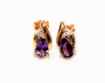 Amethyst & Diamond 1.23tcw 14kt Yellow Gold Gemstone Stud Women's Earrings