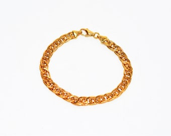 """14kt Yellow Gold 7"""" 6.50mm 6.8 Grams Double Interlocking Curb Chain Bracelet"""