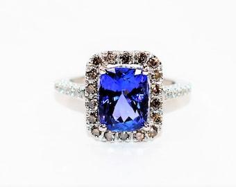 Effy Certified D'Block Tanzanite & Fancy Chocolate Diamond 3.21tcw 14kt White Gold Pave Halo Women's Ring