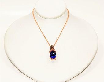 LeVian GIA Certified D'Block Tanzanite & Diamond 3.25tcw 14kt Rose Gold Pendant Women's Necklace